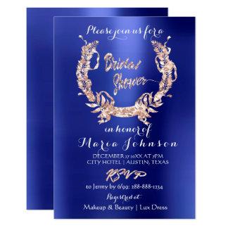 Bridal Shower Olive Wreath  Rose Gold Indigo Blue Card