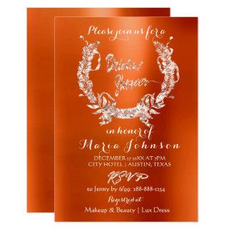Bridal Shower Olive Wreath  Rose Gold Orange Coral Card