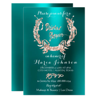 Bridal Shower Olive Wreath  Rose Gold Teal Aquatic Card