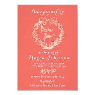Bridal Shower Olives Floral Wreath Coral Pink Rose Card