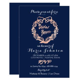 Bridal Shower Olives Floral Wreath Navy Rose Gold Card