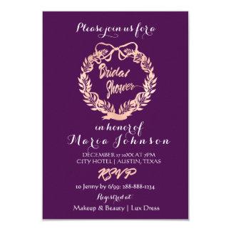 Bridal Shower Olives Wreath Plum Rose Gold Card