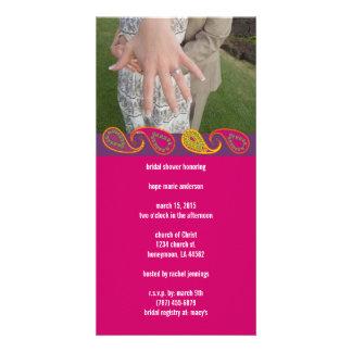 Bridal Shower Paisley Photo Greeting Card
