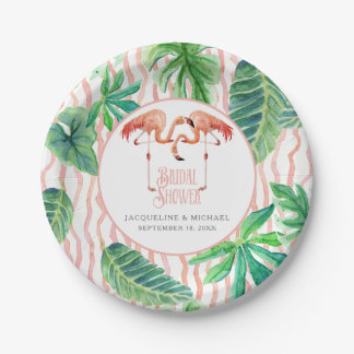 Bridal Shower Party Pink Flamingo Watercolor Leaf Paper Plate