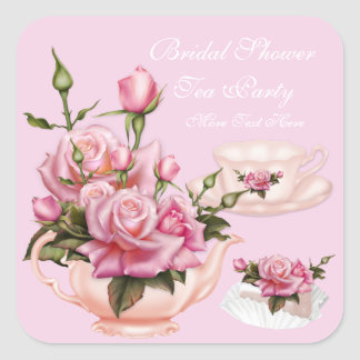 Bridal Shower Party Pink Rose Floral Teapot 3 Square Sticker