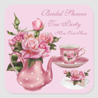 Bridal Shower Party Pink Rose Floral Teapot 5 Square Sticker