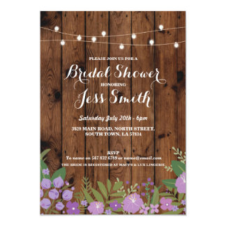 Bridal Shower Party Rustic Wood Floral Invite