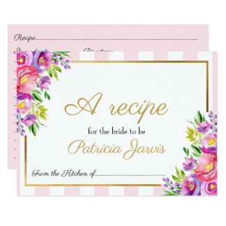 Bridal Shower Pink and Foil Gold Floral Recipe Card