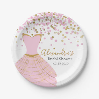 Bridal Shower Pink and Gold Foil Dress Paper Plate