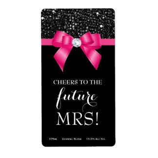Bridal Shower Pink Bow Black Sequins Wine Labels
