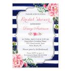 Bridal Shower Pink Floral Silver Blue Stripes Card