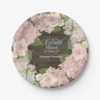 Bridal Shower Pink Hydrangea Roses Dark Wood Barn Paper Plate