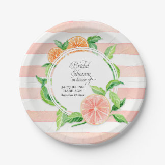 Bridal Shower Pink Striped Citrus Orange Art Paper Plate