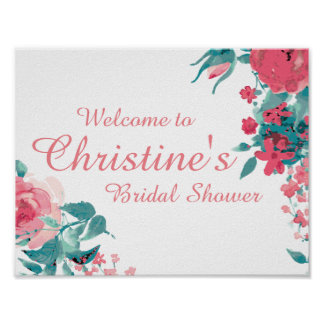 Bridal Shower Poster with Floral Print