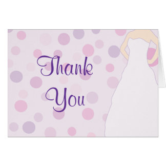 Bridal Shower Purple Polka Dot Thank You Cards