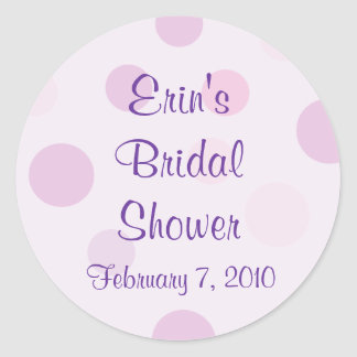 Bridal Shower Purple Polka Dot Theme Stickers
