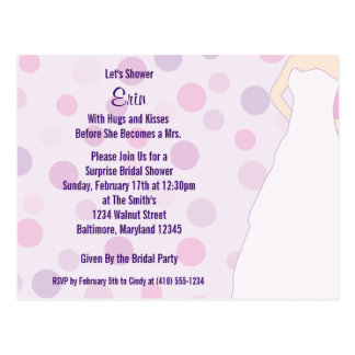 Bridal Shower Purple Polka Dots Invite Postcards