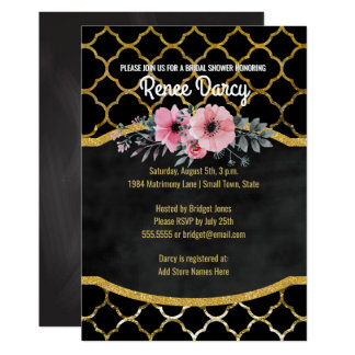 Bridal Shower Quatrefoil Elegant Gold | Chalkboard Card