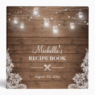 Bridal Shower Recipe Book | Mason Jar Lights Lace 3 Ring Binders