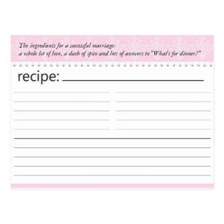 Bridal Shower Recipe Card Postcard