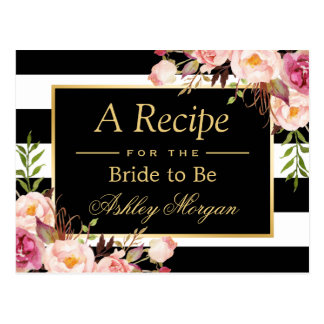 Bridal Shower Recipe Card Vintage Floral Stripes