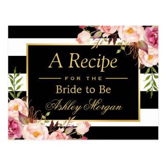 Bridal Shower Recipe Card Vintage Floral Stripes Postcard