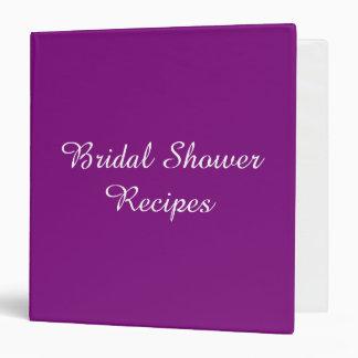 Bridal Shower Recipe Cook Book Design Purple Vinyl Binder