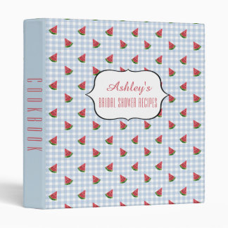 Bridal Shower Recipe Cookbook Watermelons Pattern 3 Ring Binder