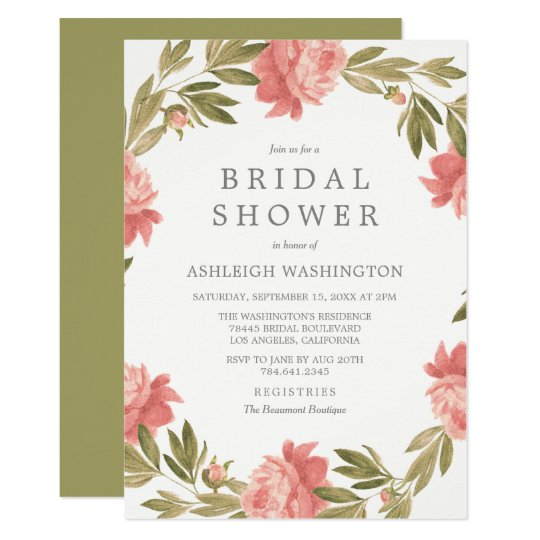 Bridal Shower | Romantic Watercolor Flowers Card