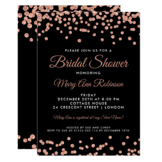 Bridal Shower Rose Gold Faux Glitter Confetti Blac Card