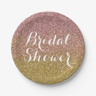 Bridal Shower Rose Gold Glitter Paper Plates