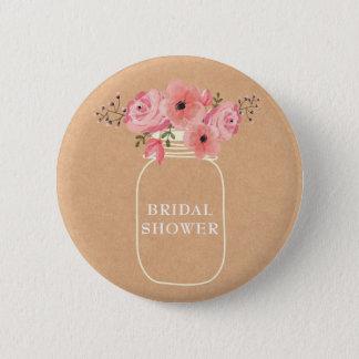 Bridal Shower | Rustic Floral Mason Jar & Lights 2 Inch Round Button