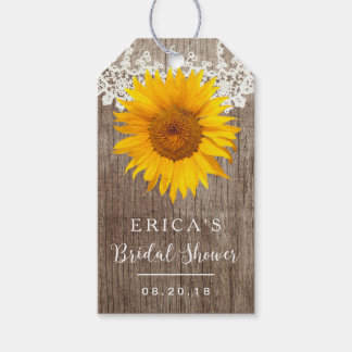 Bridal Shower Rustic Sunflower Laced Barn Wood Pack Of Gift Tags