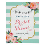 Bridal Shower Sign Modern Floral Mint Green Stripe