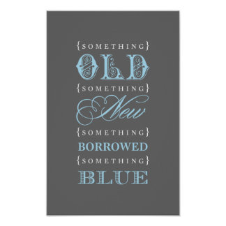 Bridal Shower Sign | Old New Borrowed Blue Theme