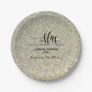 Bridal Shower Silver Glitter Future Mrs. Party Paper Plate