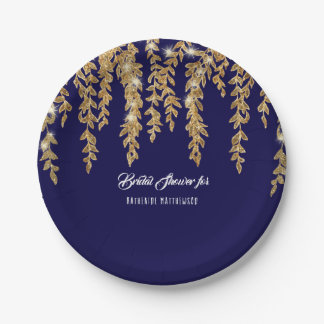 Bridal Shower Simple Navy Gold Willow Leaf Twinkle Paper Plate