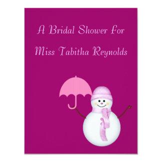 "Bridal Shower - Snowwoman w/ Umbrella 4.25"" X 5.5"" Invitation Card"