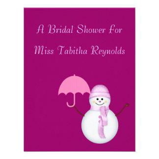 Bridal Shower - Snowwoman w/ Umbrella Custom Announcements