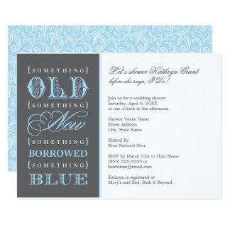 "Bridal Shower | Something Old New Borrowed Blue 5"" X 7"" Invitation Card"
