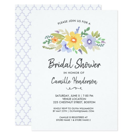Bridal Shower Spring Summer Watercolor Flowers Card
