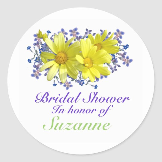 Bridal Shower Stickers Yellow Daisies Bouquet