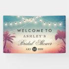 Bridal Shower Summer String Lights Palm Trees Banner
