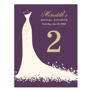 Bridal Shower Table Number Card | Wedding Gown