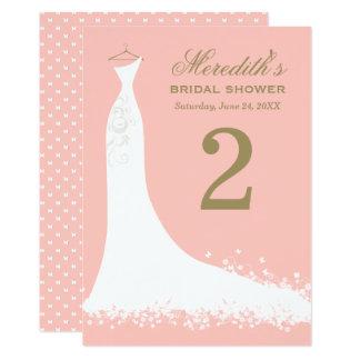 "Bridal Shower Table Number Cards | Blush + Antique 5"" X 7"" Invitation Card"
