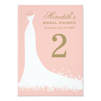 "Bridal Shower Table Number Cards | Blush + Antique 5"" X 7"" Invitation Card"