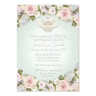 Bridal Shower Tea Party Blush Rose Succulent Leaf Card