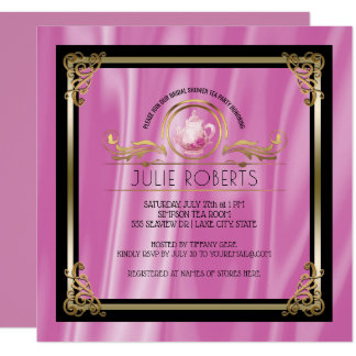 Bridal Shower Tea Party Glam Gold Pink Card