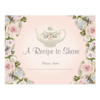 Bridal Shower Tea Party Recipe Rose Pretty Floral Postcard