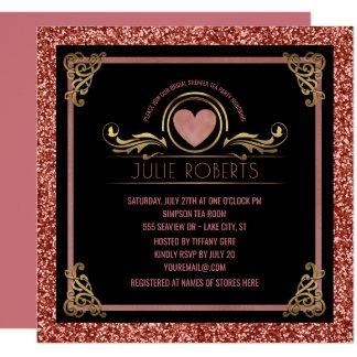Bridal Shower Tea Party Rose Gold Heart Glitter Card